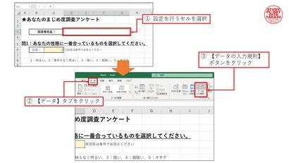 ①設定対象のセルを選択したら【データ】タブ→【データの入力規則】