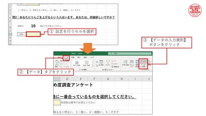 ①まずは【データ】タブ→【データの入力規則】