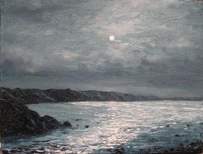 Newgale Beach bei Nacht (Öl auf Leinwand, 18 x 24 cm)