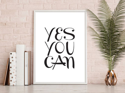 Typografie Poster, Typografie Print, Motivation Typografie - Yes You Can