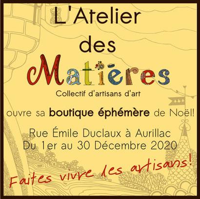 Isabelle Gerbault Mosaïque est à Aurillac, Boutique de Noël 2020, l'Atelier des Matières