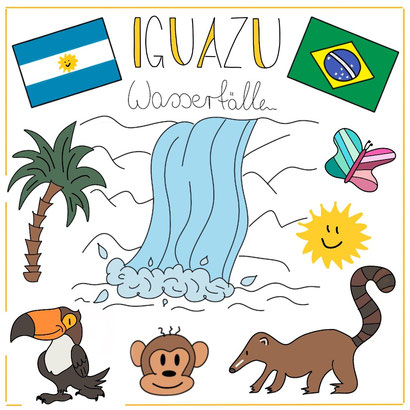 Mein Sketchnotes Reise ABC - I wie Iguazu
