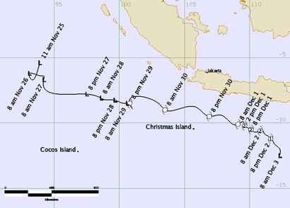 Track map of Tropical Cyclone Dahlia. From www.bom.gov.au