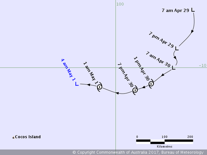 Track map of Tropical Cyclone Greg. From www.bom.gov.au