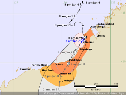 Track map of Tropical Cyclone Blake, 0701/2020 2am, image from www.bom.gov.au