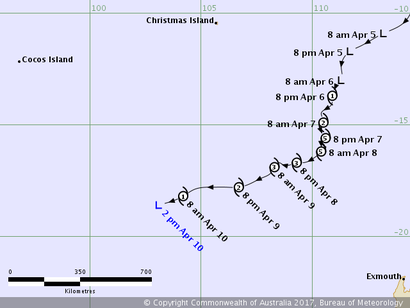 Track map of Tropical Cyclone Ernie. From www.bom.gov.au