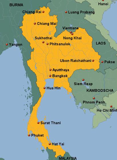 Bangkok Karte.Thailand Karte Team Thailand De Schwaben On Tour