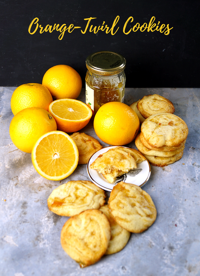 Cookies mit Orangenmarmelade-Twirl