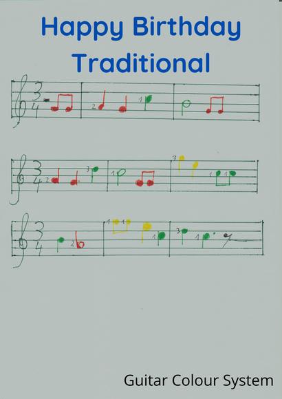 Happy Birthday Noten, Geschenkt für den Gitarrenlehrer in Mannheim für das Gitarre lernen im Gitarrenunterricht