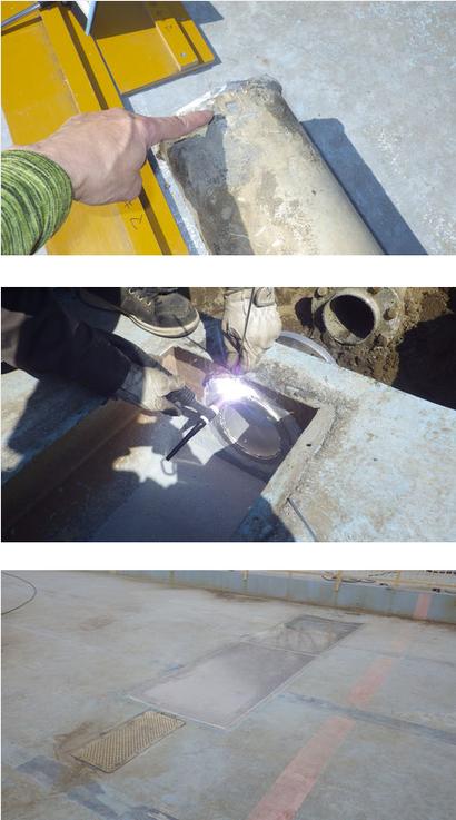 アルミプールの排水桝の補修工事