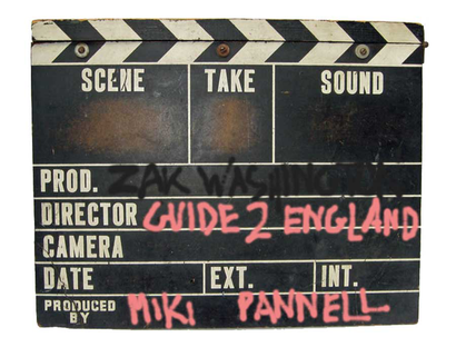vintage clapper-board graphic with the words ZakWashington's Guide to England written in pink