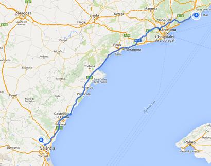 3. Fahrtstrecke von Blanes nach Bétera 433 Kilometer