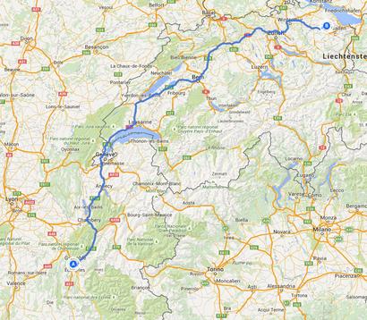 6. Fahrtstrecke von Grenoble nach Hauptwil 496 Kilometer