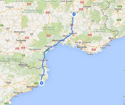 2. Fahrstrecke von Valence nach Blanes 478 Kilometer
