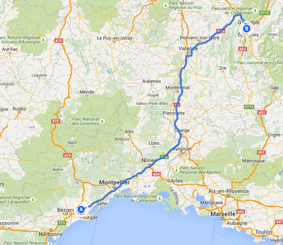 5. Fahrstrecke von Saint-Thibéry nach Grenoble 344 Kilometer