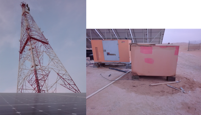 Die Kehrseite der erneuerbaren wird oft nicht wahrgenommen. Mobilfunkstation in den Vereinigten Arabischen Emiraten des Betreibers Etisalat. The dirty backside of renewable energies power supply United Arab Emirates a basestation of the provider Etisalat.