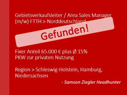 SZH+ Jobbörse - Spezialist Gebietsverkaufsleiter (m/w) FTTH Norddeutschland - Job - Stellenanzeige - Stelle