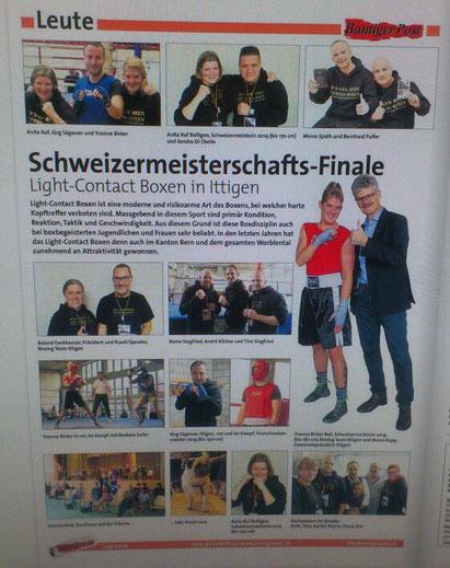 Zeitung Bantiger Post, Ausgabe Dezember 2019 BOXING TEAM ITTIGEN mit Gemeindepräsident Ittigen @ ITTIGEN BOXEN IV / LC-CUP Finals 2019 Ittigen