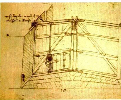 """Dessin de Léonard de Vinci - Portes avec la """"trappe"""" de remplissage"""