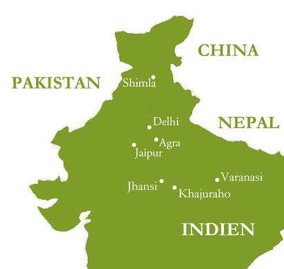 Reiseroute - Klassiker Nord-Indiens