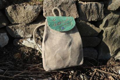 sac d'écolle enfant en toile de chanvre cirée, ecologique, local et durable