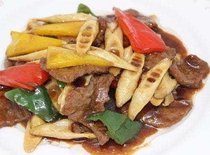 牛肉と細竹のオイスターソース炒め