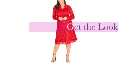 elegantes rotes Spitzen Kleid in Größe 50