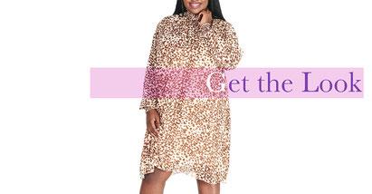 elegantes Kleid mit Leoparden-Print in Größe 46