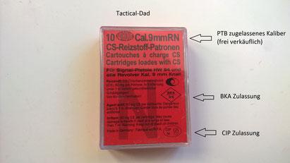 Frei verkäufliche CS Gaskartuschen mit CIP und BKA Zulassung für PTB-geprüfte Waffen