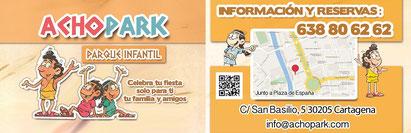 Achopark, tu parque infantil en el centro de Cartagena. Perfecto para celebrar cumpleaños, comuniones, bodas y más celebraciones.