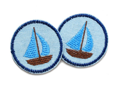Jeans patch Segelboot mini Bügelflicken accessoire Kinder Erwachsene