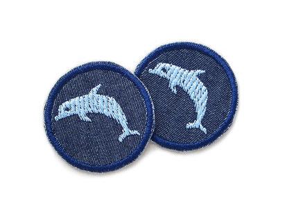 Bild: Delfin Patch Jeans Flicken mini hellblau