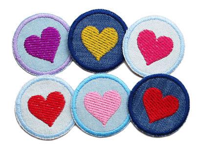 Bild: Set Jeans Flicken Herz mini Patches zum aufbuegeln Maedchen