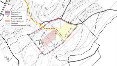 Luftaufnahme des Challnechwaldes in Richtung Grosses Moos (von Südost nach Nordwest).  Rot gestrichelt der ungefähre Abbauperimeter, orange die Erschliessung, pink der Installationsbereich A im Chäppeli.