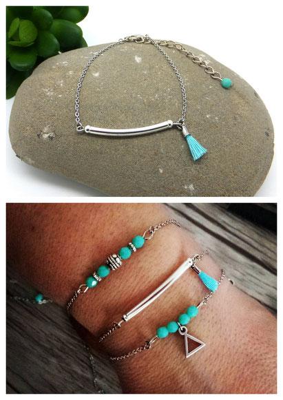 NOLAN - Bracelet fin, bracelet bohème, bracelet turquoise Manoléo Fantaisies