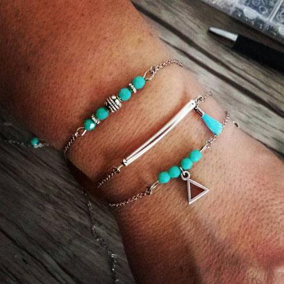 SOLAL - Bracelet fin, bracelet bohème, bracelet turquoise, bracelet perles Manoléo Fantaisies