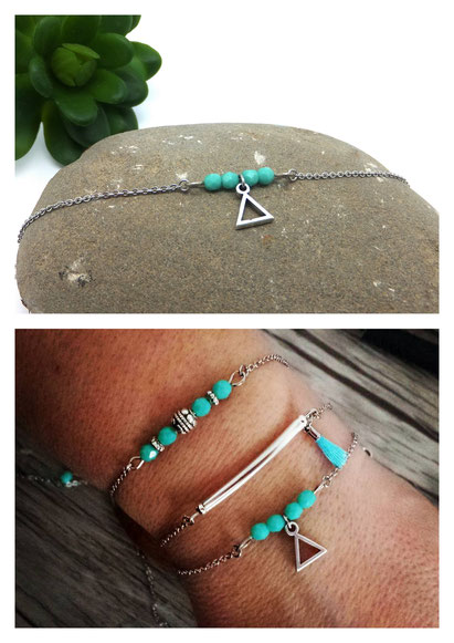 Bracelet fins, bracelet bohèmes, bracelets turquoises Manoléo Fantaisies