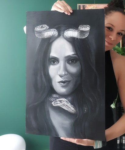 Oil painting of Mazikeen from Lucifer on birch wood panel