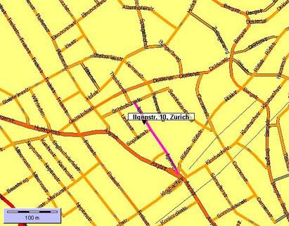 Karte II Nahbereich Römerhof......  zur Ilgenstrasse 10 gelangen Sie über Asyl-/Sophienstrasse oder  Einfahrt direkt vom Römerhof  Parkplätze !