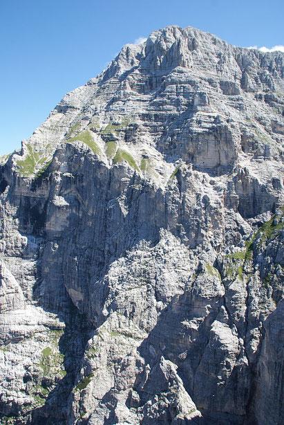 Die Monatsch Westwand, zu hoch um sie auf ein Foto zu bannen! Der Aufstieg via Findeneggweg verläuft im Bereich der grünen Kegel.