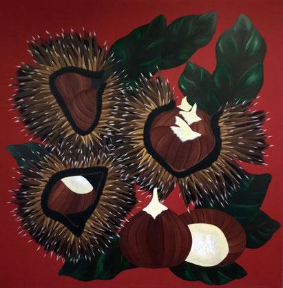 Châtaignes, 2018, Acrylic on canvas, 135 x 135 cm