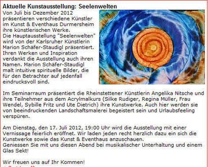 Marion Schäfer-Staudigl Karlsruhe Eggenstein Ausstellung spirituelle Bilder