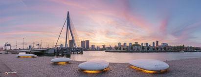 Cityscapefotografie: Erasmusbrug-te-Rotterdam-tijdens-zonsondergang