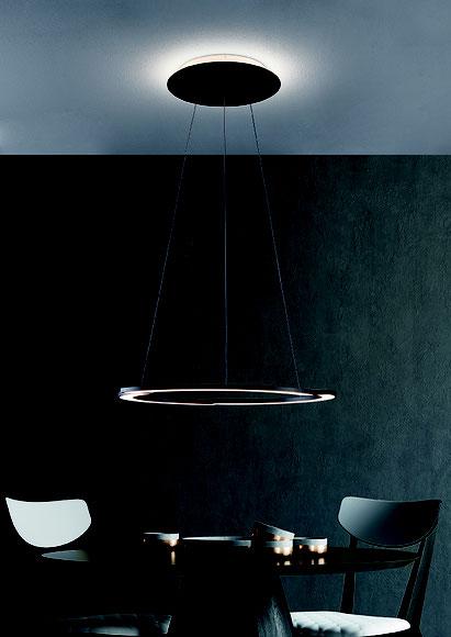 Runde schwarze Ringpendelleuchte Direktes und Indirektes Licht