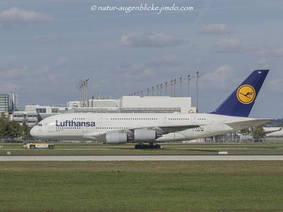 Lufthansa D-AIMB  A380-800,  (München), Airbus, Flughafen München, MUC