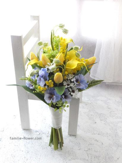 黄色いカラーとチューリップの造花ブーケ 通販