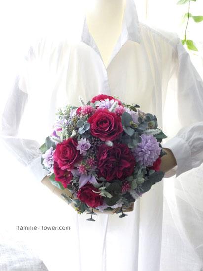 ルビーレッドのバラの造花ブーケ 22000yen
