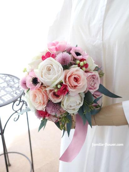 白バラとピンクのアネモネの造花ブーケ 通販