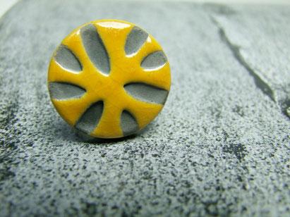 bague ceramique raku jaune
