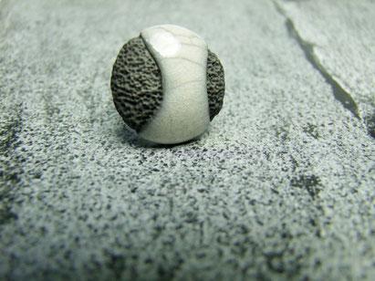 bague ceramique raku blanche